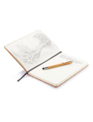 Carnet de notes en liège avec stylo en bambou – Personnalisable
