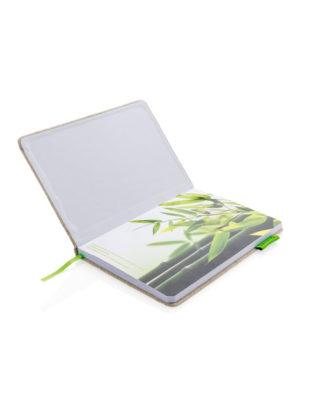 Carnet à couverture en jute et coton A5 – Personnalisable